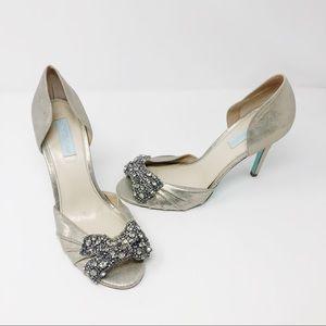 Betsey Johnson Blue Gown Shoe Silver Metallic Pump